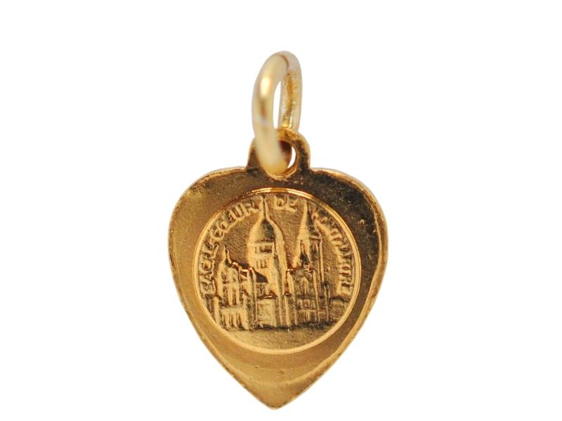 画像2: サクレクール寺院ゴールドハート型チャーム