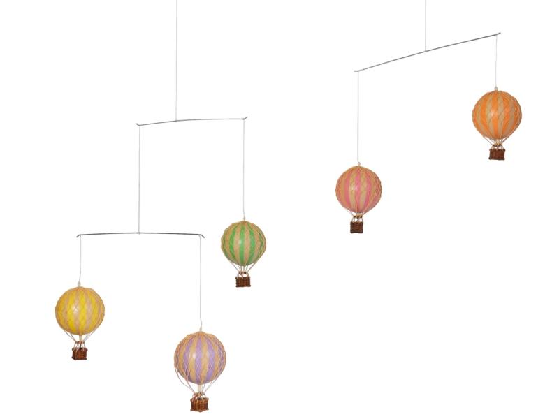 画像1: バルーン(熱気球)のモビール パステル
