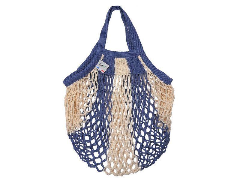 画像1: フランスFILT社のネットバッグSサイズ/白青ストライプ