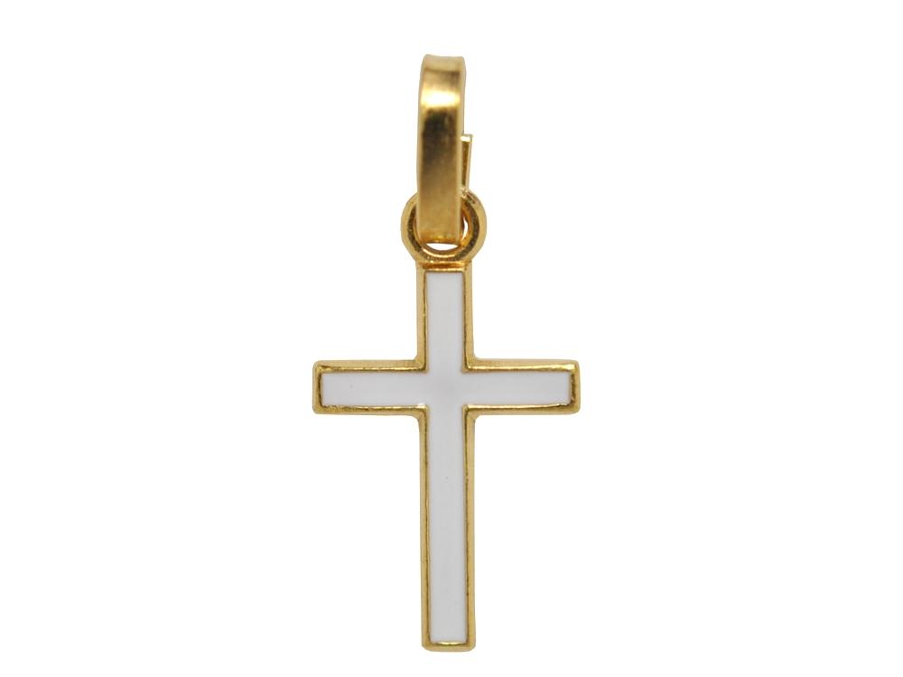 画像1: ゴールドカラークロスチャーム(ホワイト)