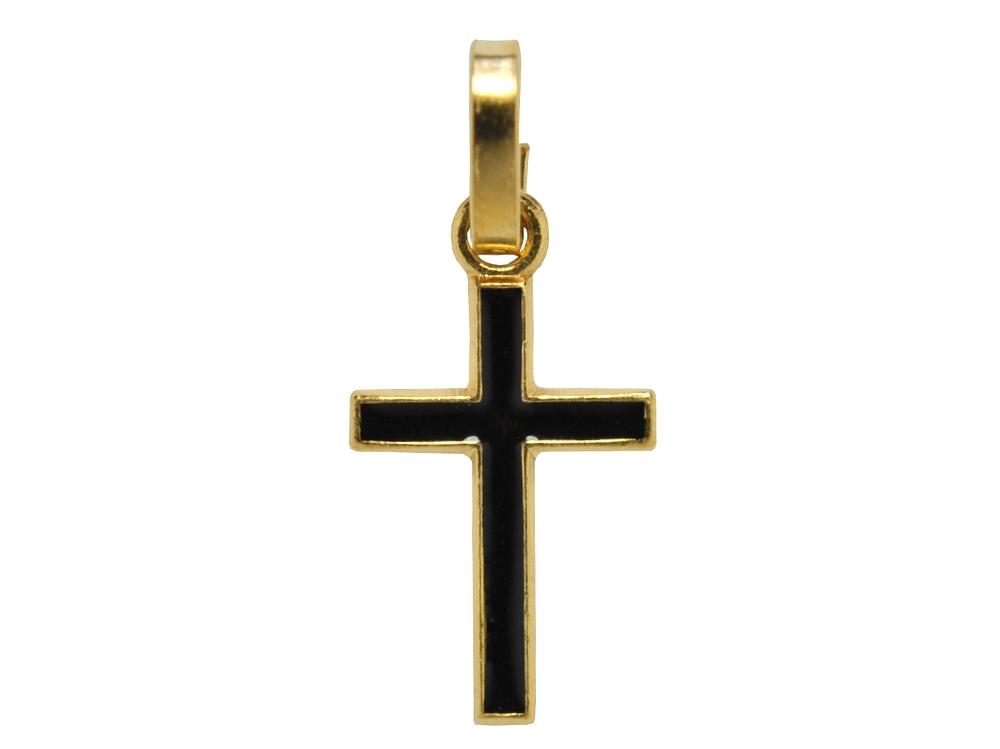 画像1: ゴールドカラークロスチャーム(黒)