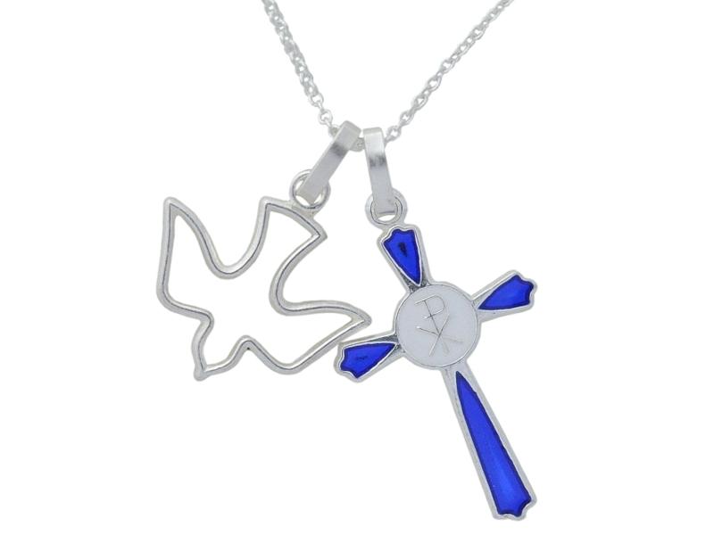 画像3: ブルー×ホワイトのシルバークロスチャーム